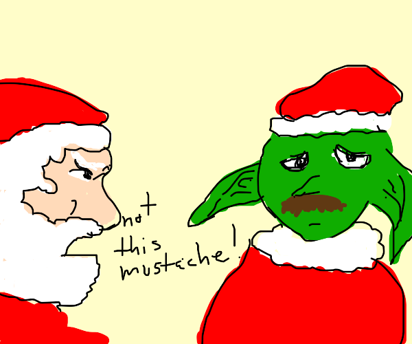 santa scolds an elf for non-regulati mustache