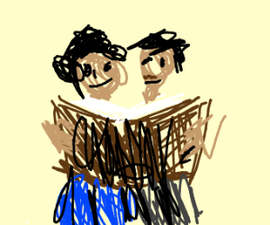 Two people reading a book together