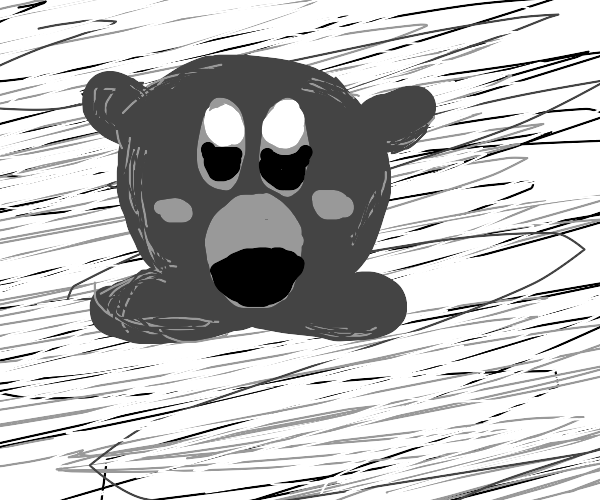 Kirby in grayscale