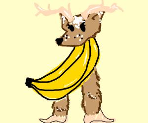 Banana with monkey legs and deer head