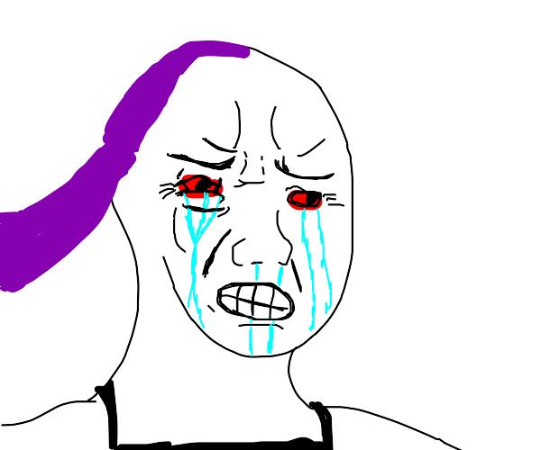 sexy anime girl with long purple hair