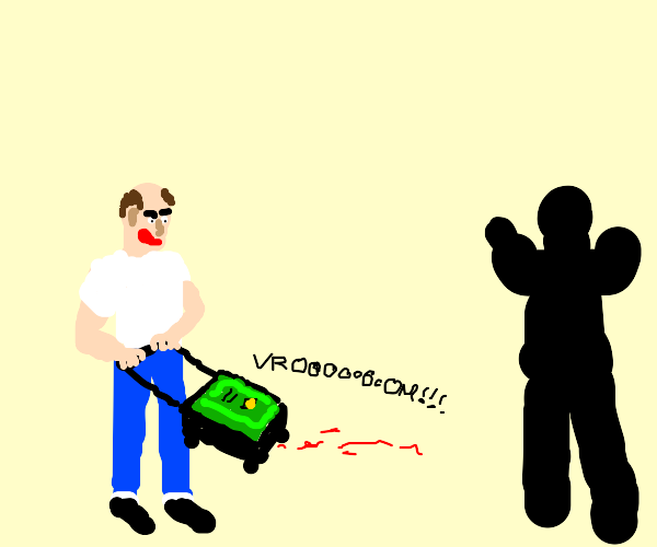 A man being threatened by a vacuum cleaner.