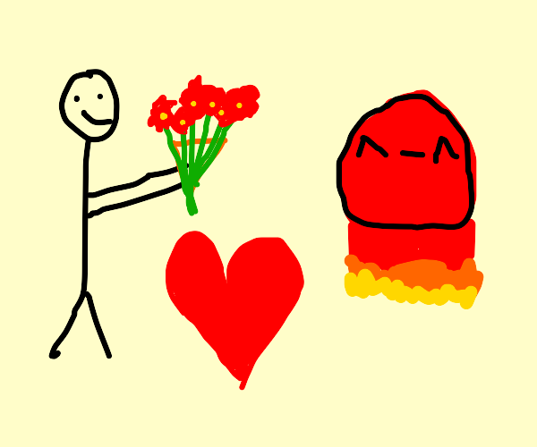 man in love with fire ball