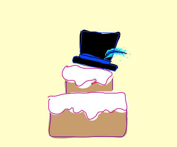 Top hat on birthday cake