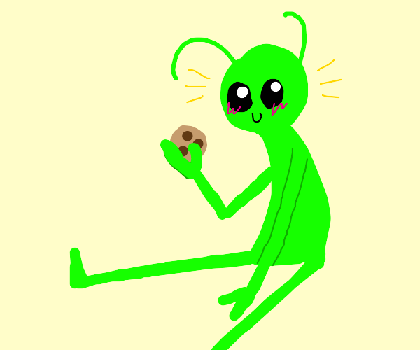 Alien eating a delicious cookie