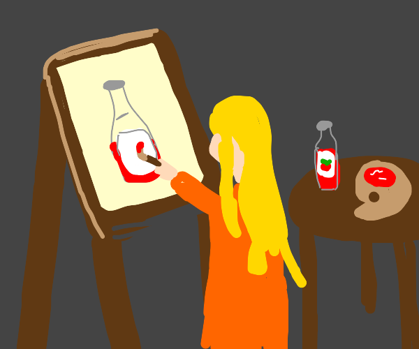 woman painting with ketchup