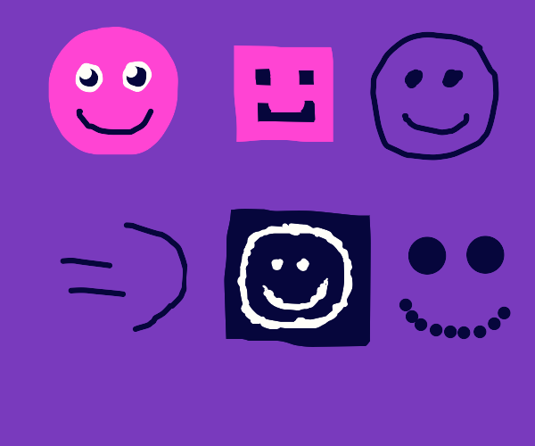 Different ways of drawing a smiley