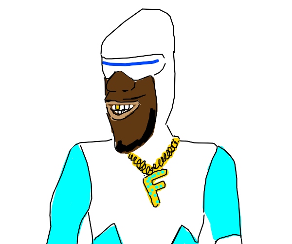 Guy in skintight  suit with bling