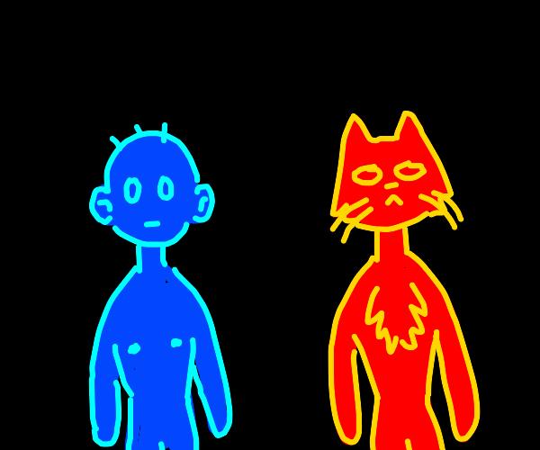 Blue human-head guy, red cat-head guy