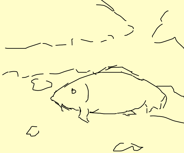 a handsome fish man goes on a nice stroll