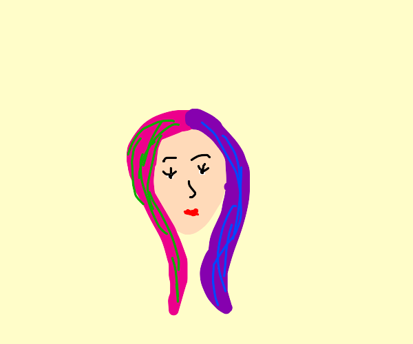 lady with multi-colored hair