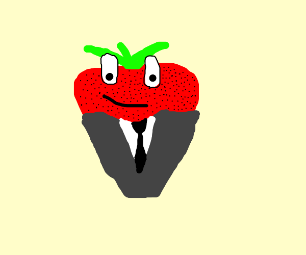 strawberry in a suit