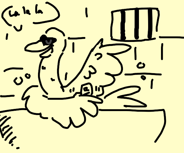 Swan bathing in a dungeon