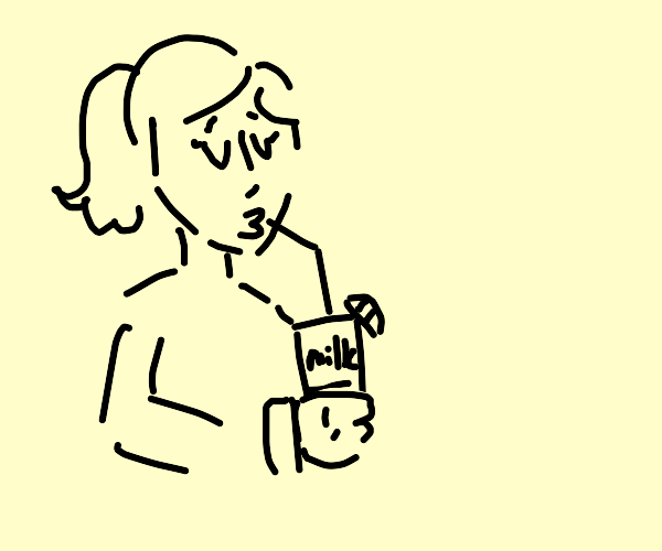 Girl drinks milk with lemon