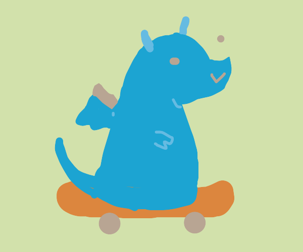 Dragon riding a skateboard