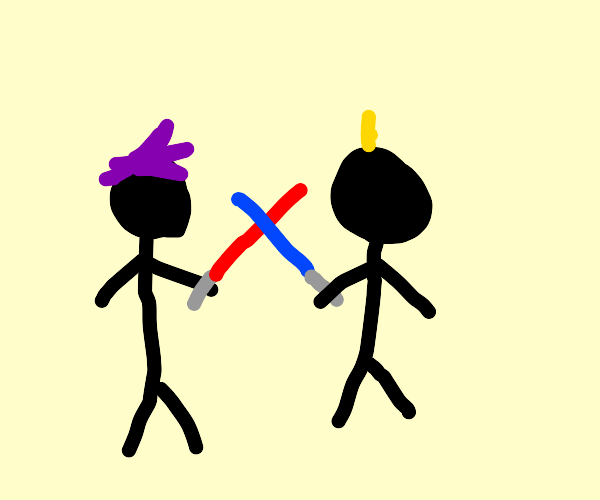 blonde and purple haired men lightsaber duel