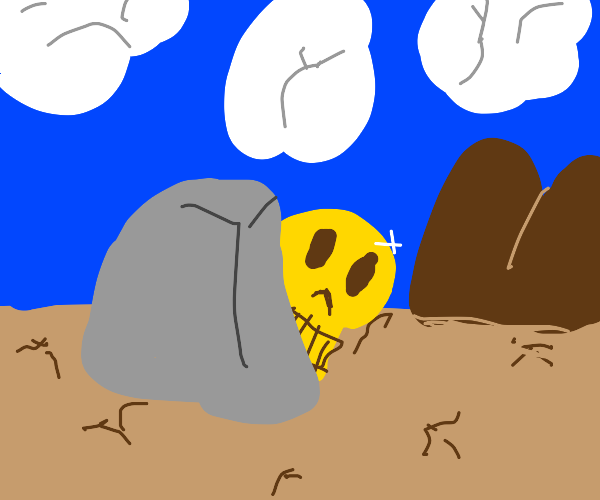 yellow skull hiding behind a rock