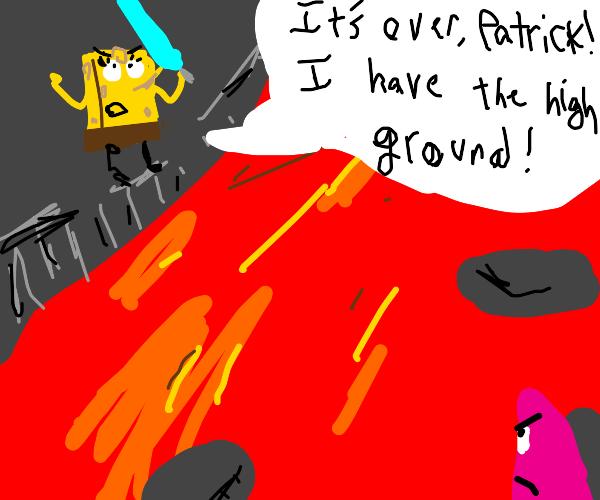 spongebob has the high ground