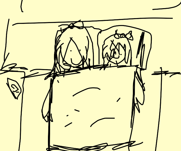 A mom and a girl sleeping in a square bed