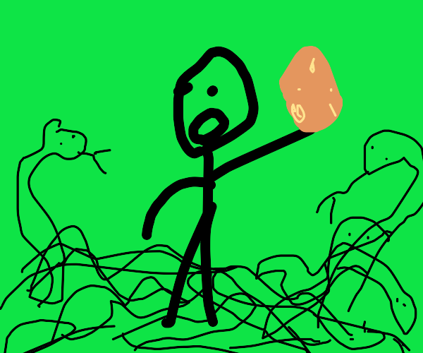 man holds potato while surrounded by snakes