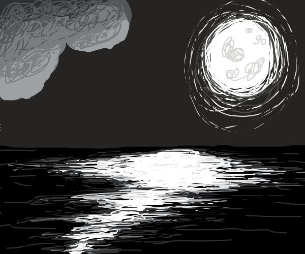 Moon reflecting on ocean