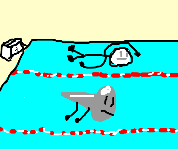 Person having a swimming race against a nail