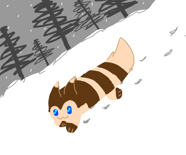 The Pokemon, Furret is walking in the snow