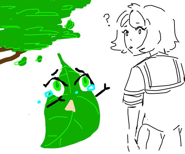 leaf is calling her senpai