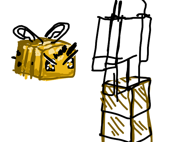 Bees attack tower of minecraft people