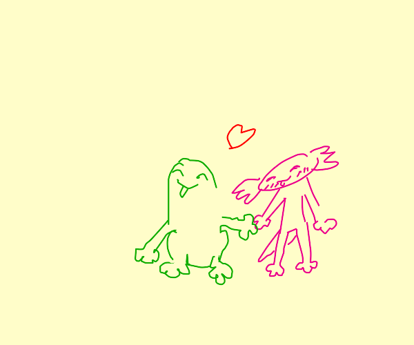 Frog and Axolotl on a date