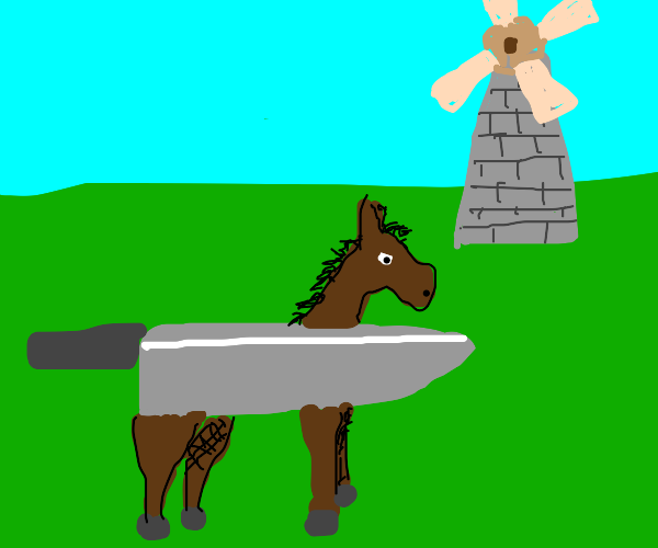 knife horse next to windmill