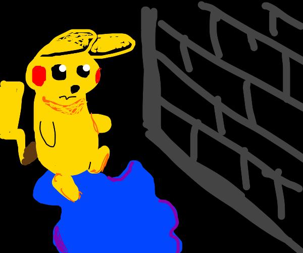 pikachu steps on a sad puddle