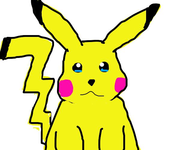 Sad Pikachu with black tail tip