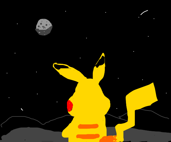 pikachu looking out into the night sky