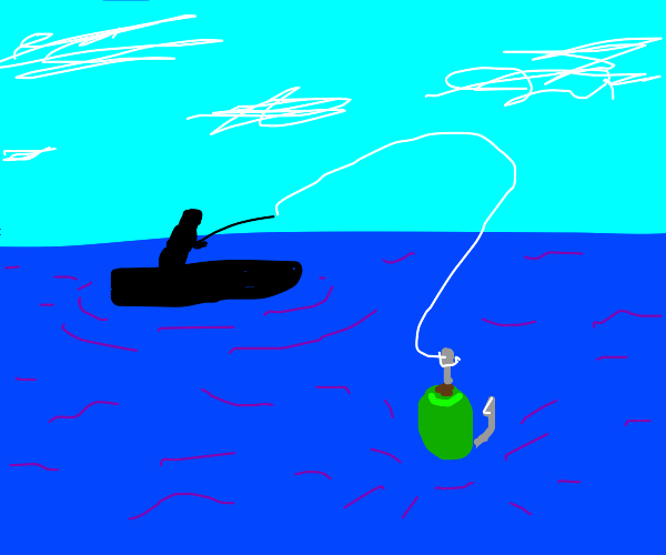 fisherman using an olive as bait