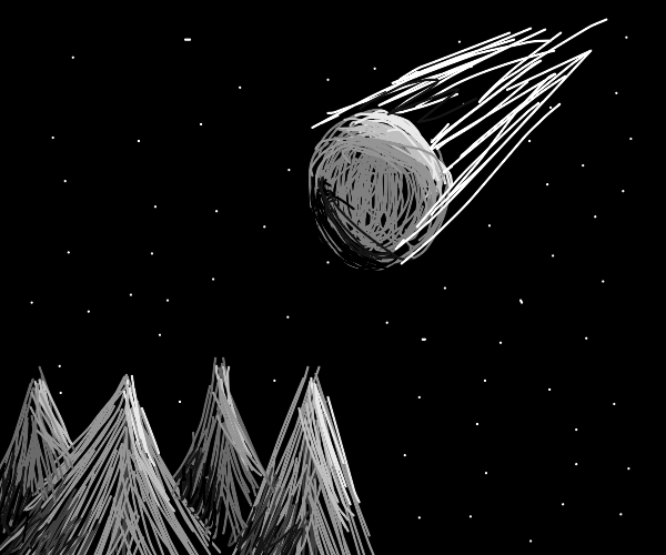 Meteor above a dark forest