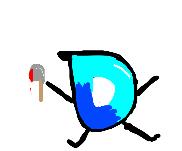 Drawception D with a bloody hatchet.