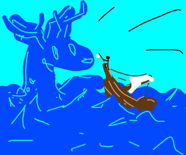 Boat attacked by almighty sea deer. Surrender
