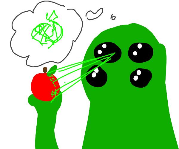 Alien Analyzing an Apple