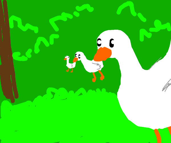 Goose holds a goose holding a goose in mouth