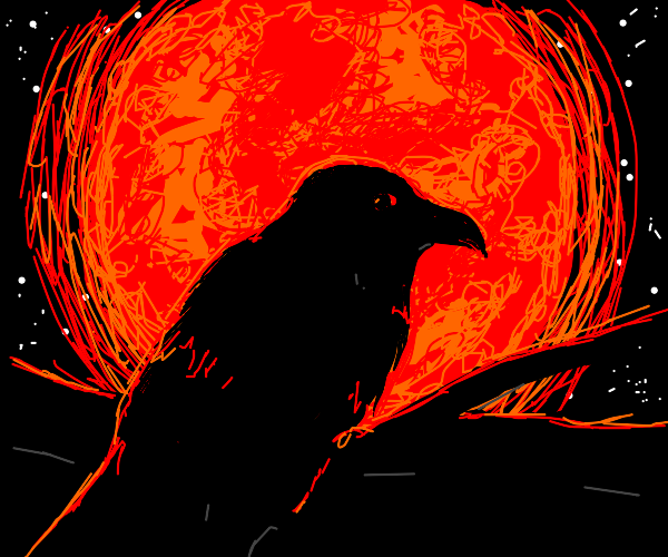 Ominous raven in the red glow of the moon