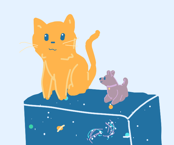 kawaii little dog and big cat on space