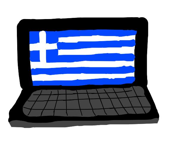 Laptop displaying the simple cross Greek flag