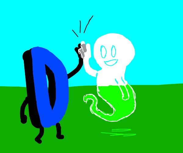 Drawception high fives a ghost
