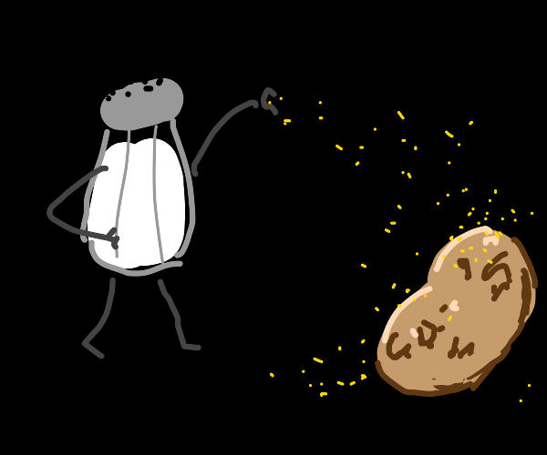 Salt man throwing sand to a potato