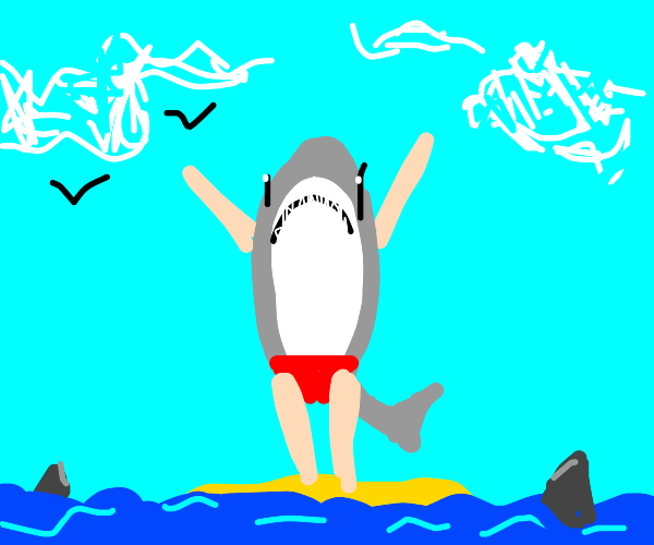 Anthro shark with arms up in the air.