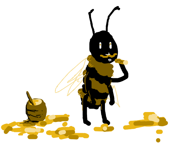 A bee with a mustache and cig. Honey on floor
