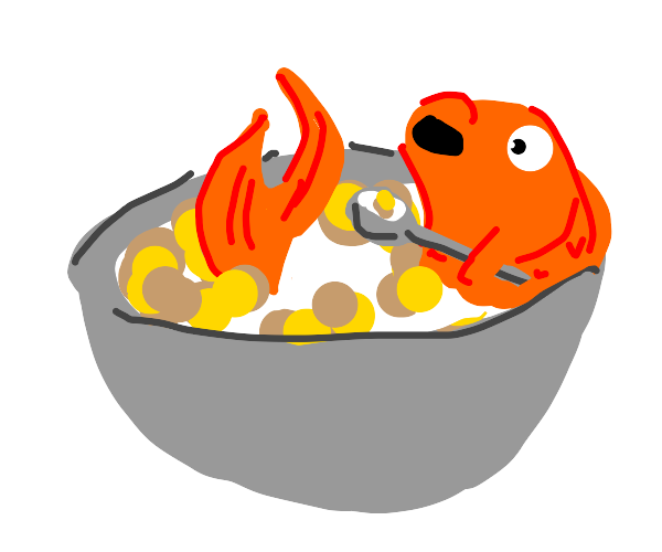 goldfish eating cereal