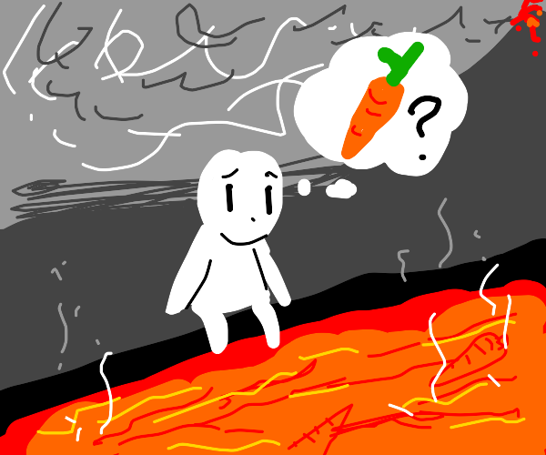 looking for carrots in lava
