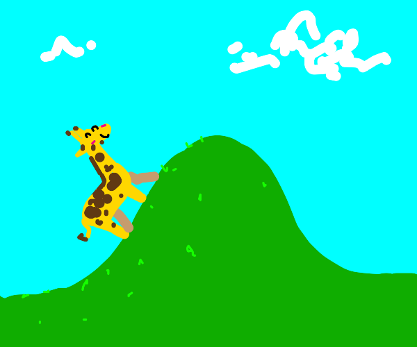 Happy giraffe walking up a hill